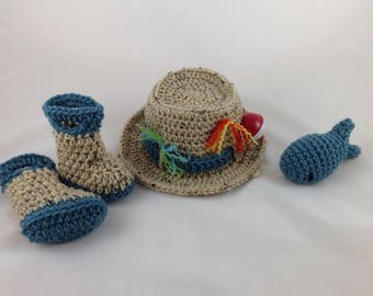 Newborn Fishing  Hat 4 pc Set w/Boots/Waders & Fish - Baby Fisherman Hat - Newborn - 0-3 months - Photography Prop - Baby Shower Gift