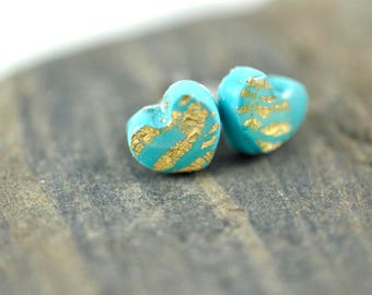 Turquoise Heart with Gold Leaf High Gloss Stud Earrings