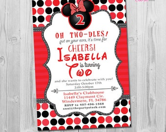 Oh Twodles Invitation, Oh Twodles Birthday, Minnie Mouse Invitation 2nd Birthday, Minnie Mouse Birthday Invitations Minnie Mouse Invites Red