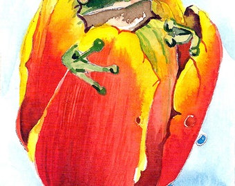 ACEO Limited Edition 2/25 -Hiding in flower, Frog in tulip, Cut animal Art print of an original ACEO watercolor painted by Anna Lee