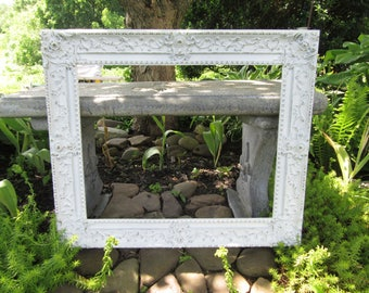 Large White Ornate Picture Frame 26 x 22~Vintage 1969 Baroque Style Wall Mantel Mirror Frame Shabby Cottage Chic~Wedding Menu Seating Chart