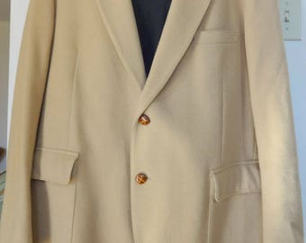 Mens Vintage CAMEL HAIR Jacket Blazer 44 46 Large Regular Tip Top Tailors Canada Stocky Retro 2 button