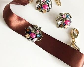 Choker Jewelry - Brown Ribbon and Flower Choker Set, Choker necklace Jewelry
