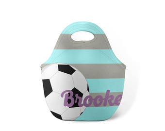 Personalized Lunch Tote - Ice Blue Soccer - Custom Lunch tote for Children