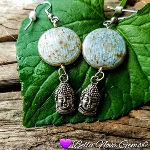 Blue Green Ceramic Flat Bead Buddha Dangle Earrings Under 20 Dollars E-0432