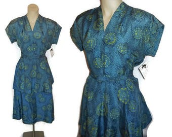 Vintage 1930s Peplum Suit 2 Piece Silk Patterned Skirt and Top Art Deco Dress Top and Skirt Amazing Print M L chest to 38 AS IS top faded