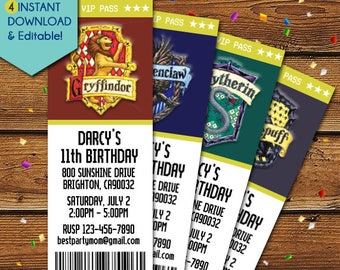 Harry Potter Hogwarts Invitation, Gryffindor Invitation, Ravenclaw Invitation, Hufflepuff Invitation, Slytherin Invitation, birthday, house