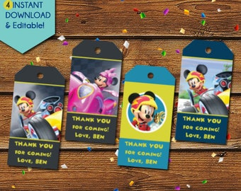 Mickey and the Roadster Racers Thank You Tags, Mickey Roadster Racers Party Favors, Mickey Roadster Racers Birthday Tags, Gift Tags