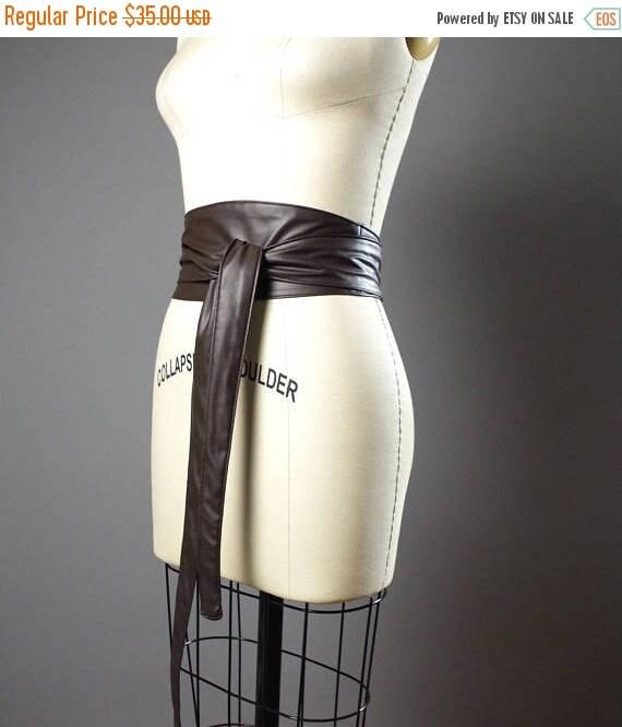 ON SALE Vegan Leather Obi Belt - Brown Vegan Leather Obi Belt - Women's Wrap Belt - Up-cycled Obi Belt - Boho Brown Belt