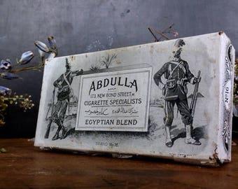 ON SALE Antique Tobacco Tin Metal Box Abdulla