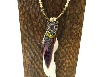 Mulberry Canyon Beaded Feather Necklace