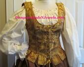 DDNJ Chose Fabrics Reversible Demi Corset Style Bodice Renaissance Plus Custom Made ANY Size Gothic Vampire Gypsy Victorian Cosplay LARP