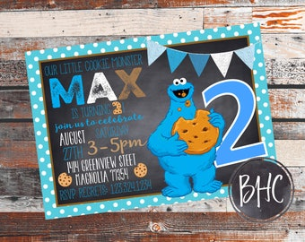 Cookie Monster Birthday Party. Cookie Monster Invitation. Cookie monster Invite. Birthday Invitation. Cookie Monster. Sesame Street Party.