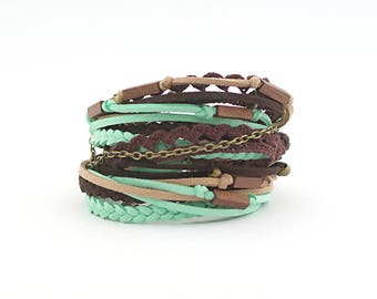 Color of the 2017, Chocolate Brown Mint Wrap Boho Bracelet, Cotton lace Hippie Jewelry, Wooden beads Bracelet, eco friendly jewelry