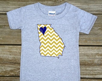 SALE Georgia Love Gold Navy Baby Toddler Children Kids Boy Girl T-shirt or Bodysuit - Your Choice of Any State and Colors