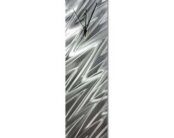 Contemporary Wall Clock 'Silver Zig Zag Clock' by Nate Halley - Original Modern Kitchen Clock Silver Decor on Natural Aluminum