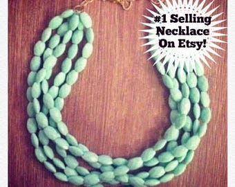 Statement Necklace - Chunky Beaded Statement Necklace MultiStrand in Mint
