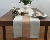 Metallic Copper Stripe Modern Holiday - Christmas Linen Table Runner - Copper / Natural