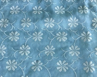 "Baby blue organdy cotton with all over white floral embroidery 3 yards/45"" New/Old Stock"