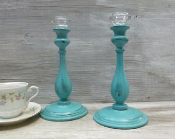 Upcycled Turquoise Painted Candlesticks