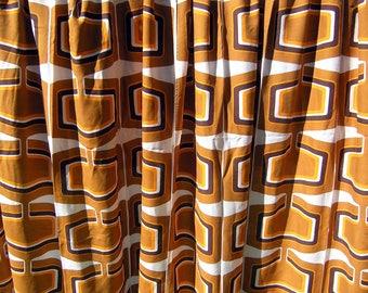 2 Vintage Pantone Era Curtains, Vintage Pop Art 1960s 1970s Drapes, Set of 2 Mid Century Geometric Pattern Curtains, Retro Mod Curtains