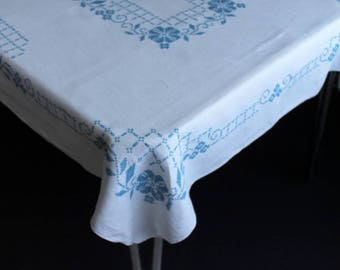 Vintage White Cotton Tablecloth With Hand Cross Stitch Blue Flowers and Trellis Table Cloth Large Rectangle 64x51