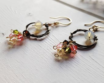 Vintage Rose Earrings -- Swarovski Crystal & Wirework, Ready to Ship
