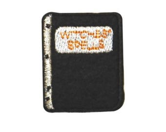 ID 0903B Witch's Spell Book Patch Halloween Wizard Embroidered Iron On Applique
