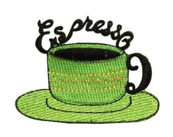ID 1276A Expresso Coffee Cup Patch Morning Fancy Embroidered Iron On Applique