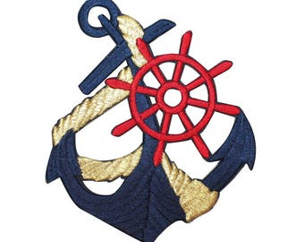 ID 2611 Navy Anchor Patch Boat Captain's Wheel Nautical Ship Iron On Applique