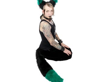 Pawstar YIP TIP FOX Full Big Tail and Ear Headband Combo Set Cat Black White Red Orange Yellow Lime Green Blue Purple Pink Grey Tan 4033