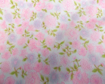 """Vintage Fabric Yardage Pink and Purple Floral Flannel 45"""" x 52"""""""