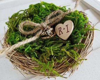 Custom birds nest ring bearer pillow - ring pillow nest - twig nest ring pillow alternative