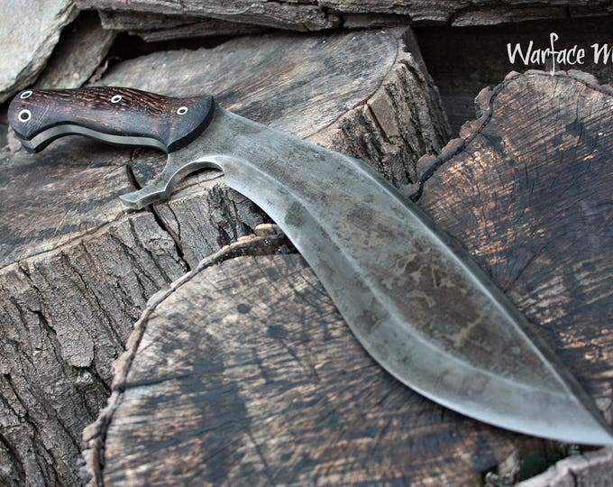 """Handcrafted """"Warface mod"""" survival, hunting or tactical kukri and heavy chopper with full tang"""