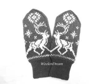 Wool mittens,merino wool mittens,warm winter glove,snowflake arm warmers,Scandinavian design winter fashion accessory,Christmas gift for Her