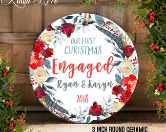 Our First Christmas Engaged Ornament, Engagement Ornament, Mr and Mrs Ornament, Just Engaged Ornament, Custom Engagement Gift, Holly OCH133