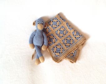 Knitted and Crocheted Monkey and blanket set
