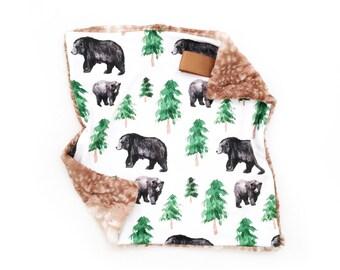 Lovey Black Bear. Lovey. Bear Lovey. Woodland Lovey. Mini Baby Blanket. Security Blanket. Lovie. Minky Lovey.