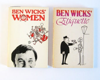 Ben Wicks Etiquette & Women Book Collection - Vintage Humor Books Signed First Editions - Black and White Comic Strip - Witty Satire Manners