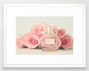 Fashion wall art, Miss Dior print, blush pink wall art, perfume print, blush pink decor, large wall art, canvas art, wall art canvas
