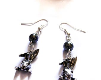 Rosary earrings black pearls revisited Alice Wonderland country