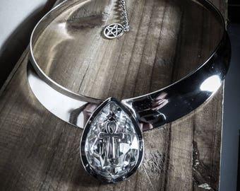 Collier argenté torque rigide Diamond Ankh