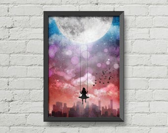 Girl Swinging on the moon,original artwork,poster,digital print,moon,girl,night,sky,art,city,night,new york,inspiration poster,original