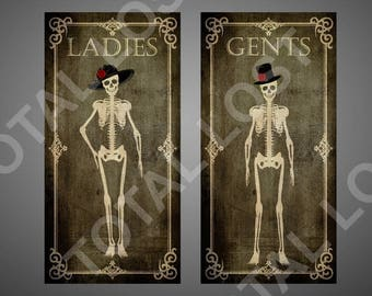 Set of two skeletons door signs,ladies and gents door signs,skull signs,skeletons door signs,toilet signs,WC signs,christmas gift ,bathroom