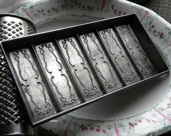 Antique FRENCH Bakery Fancy Embossed Filigree Rectangle Chocolate Bar Mold, Famous Maker 'ANTON REICHE' Dresden Germany No Rust