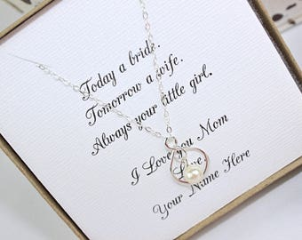 Mother of the Bride Gift Infinity Pearl Sterling Silver Necklace, Mother in Law Gift, Mother Wedding Gift, FREE Personalized Card!!