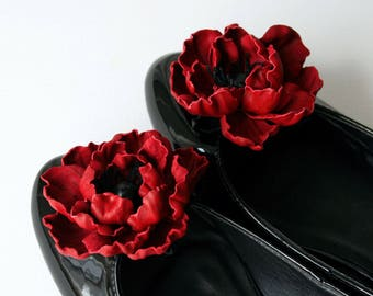 Red Leather Poppy Flower Shoe Clips