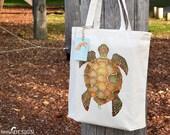 Turtle Tote Bag, Ethically Produced Reusable Shopper Bag, Cotton Tote, Shopping Bag, Eco Tote Bag, Reusable Grocery Bag, Stocking Filler