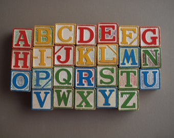 Complete alphabet HALSAM set of 26 wooden blocks  60s  PLAYSKOOL toy blocks durable non-toxic nursery decor