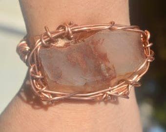 Wire Wrapped Untreated Natural Agate Solid Copper Cuff Bracelet Statement Healing Energy Boho Brutalist Petite Small Handmade Shamanic OOAK